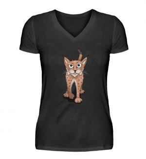 Lässiger eurasischer Luchs - Coole Wildkatze - V-Neck Damenshirt-16