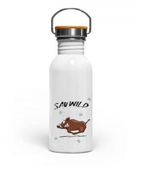 Sauwild Wildsau | witzige Wildschwein - Edelstahl Trinkflasche-3