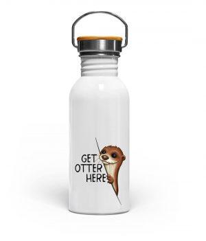 Get Otter Here Fischotter Kalauer - Edelstahl Trinkflasche-3
