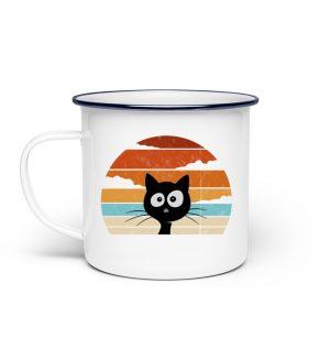 Retro schwarze Katze vor Sonnenuntergang - Emaille Tasse-3
