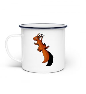 Süßes Eichhörnchen klettert - Emaille Tasse-3
