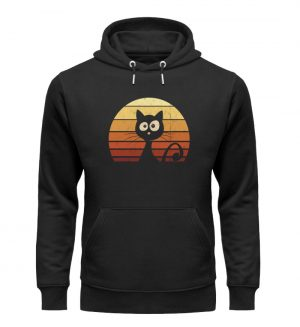 Schwarze Katze vor Retro Sonnenuntergang - Unisex Organic Hoodie-16