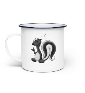 Lustig stinkiges Stinktier - Emaille Tasse-3