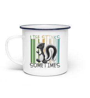 Life Stinks Sometimes Stinktier Weisheit - Emaille Tasse-3