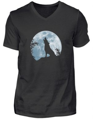 Heulender Wolf Silhouette vor Vollmond - Herren V-Neck Shirt-16