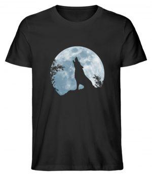 Heulender Wolf Silhouette vor Vollmond - Herren Premium Organic Shirt-16