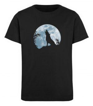 Heulender Wolf Silhouette vor Vollmond - Kinder Organic T-Shirt-16
