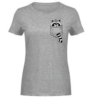 Trash-Panda Raccoon cooler Waschbär in Deiner Brust-Tasche - Damen Melange Shirt-6807