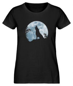 Heulender Wolf Silhouette vor Vollmond - Damen Premium Organic Shirt-16