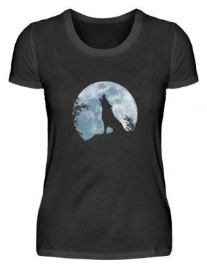 Heulender Wolf Silhouette vor Vollmond - Damenshirt-16
