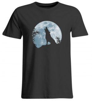 Heulender Wolf Silhouette vor Vollmond - Übergrößenshirt-639