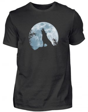 Heulender Wolf Silhouette vor Vollmond - Herren Shirt-16