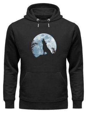 Heulender Wolf Silhouette vor Vollmond - Unisex Organic Hoodie-16