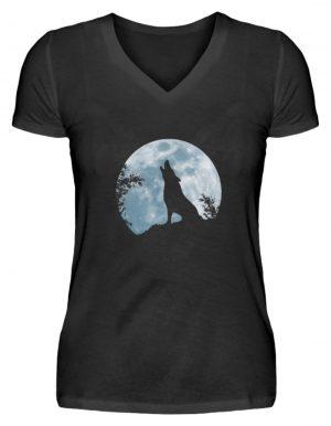 Heulender Wolf Silhouette vor Vollmond - V-Neck Damenshirt-16