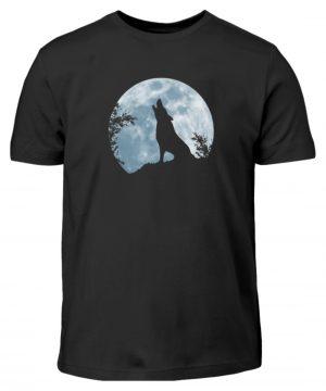 Heulender Wolf Silhouette vor Vollmond - Kinder T-Shirt-16