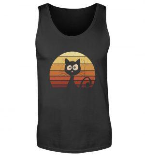 Schwarze Katze vor Retro Sonnenuntergang - Herren Tanktop-16