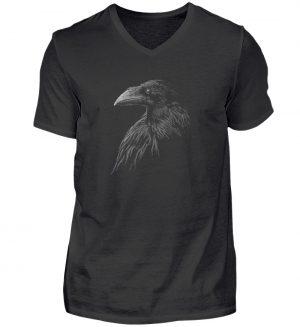 Kritzelkunst-Rabe Krähe - Herren V-Neck Shirt-16