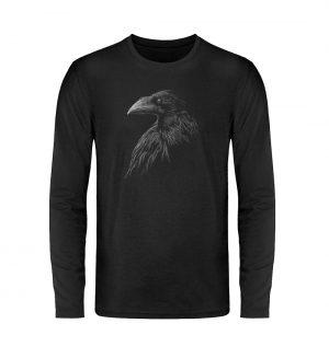 Kritzelkunst-Rabe Krähe - Unisex Long Sleeve T-Shirt-16