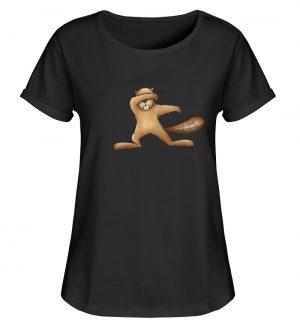 Lustiger dabbender Biber - Damen RollUp Shirt-16