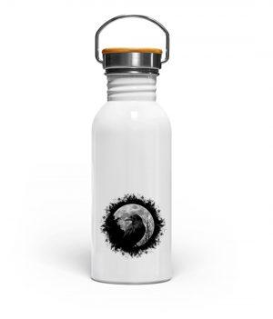 Schwarzer Rabe bei Vollmond - Edelstahl Trinkflasche-3