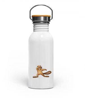 Lustiger dabbender Biber - Edelstahl Trinkflasche-3