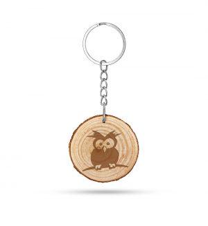 Lustige Eule - Holz Schlüsselanhänger Rund mit Lasergravur-7119