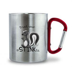 Trust Your inSTINKts Stinktier Humor - Edelstahltasse mit Karabinergriff-6989